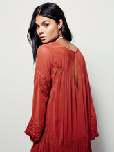 Load image into Gallery viewer, Vintage Long Sleeve Embroideried Orange Red Maxi Dress