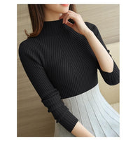 Load image into Gallery viewer, Sweater Autumn Winter Black Tops  Knitted