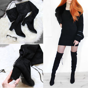 Over The Knee Boots Winter Round Toe