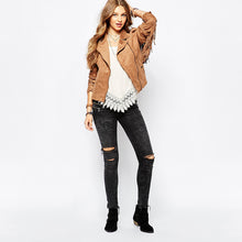 Load image into Gallery viewer, basic jackets button pockets tassel suede bomber