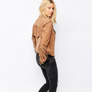 basic jackets button pockets tassel suede bomber