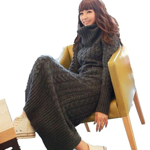 wool dress thickening knit dress