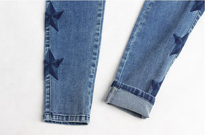 Vintage Star Embroidery Jeans Stretch Denim Pants