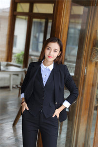 Formal  Business Suits 3 Piece Vest, Pant and Jacket Set Blue Blazer