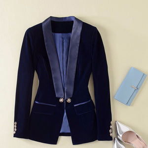 Designer Blazer  Long Sleeve Velvet Blazer Jacket Outer Wear