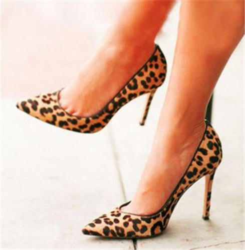 Leopard High Heels Nude Bottom  Shoes