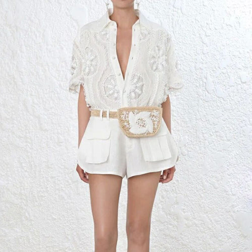 Fashion Runway Suit Set Short Sleeve Hollow Out Blouse