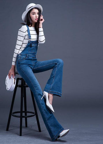 New Fashion Long Bib Pants Suspenders Bell-bottom Jeans