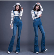 Load image into Gallery viewer, New Fashion Long Bib Pants Suspenders Bell-bottom Jeans