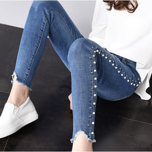 Skinny Side Pearl Beading White Wash Capris Jeans