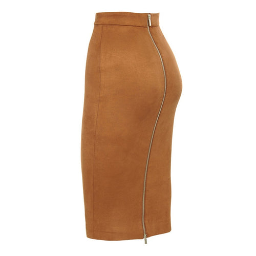 Suede Midi Skirt High Waist Faux Leather