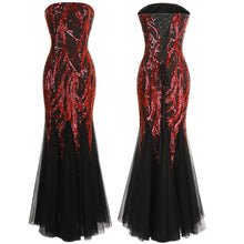 Load image into Gallery viewer, Strapless  Branch Sequined  Mermaid Full Length Evening Dress