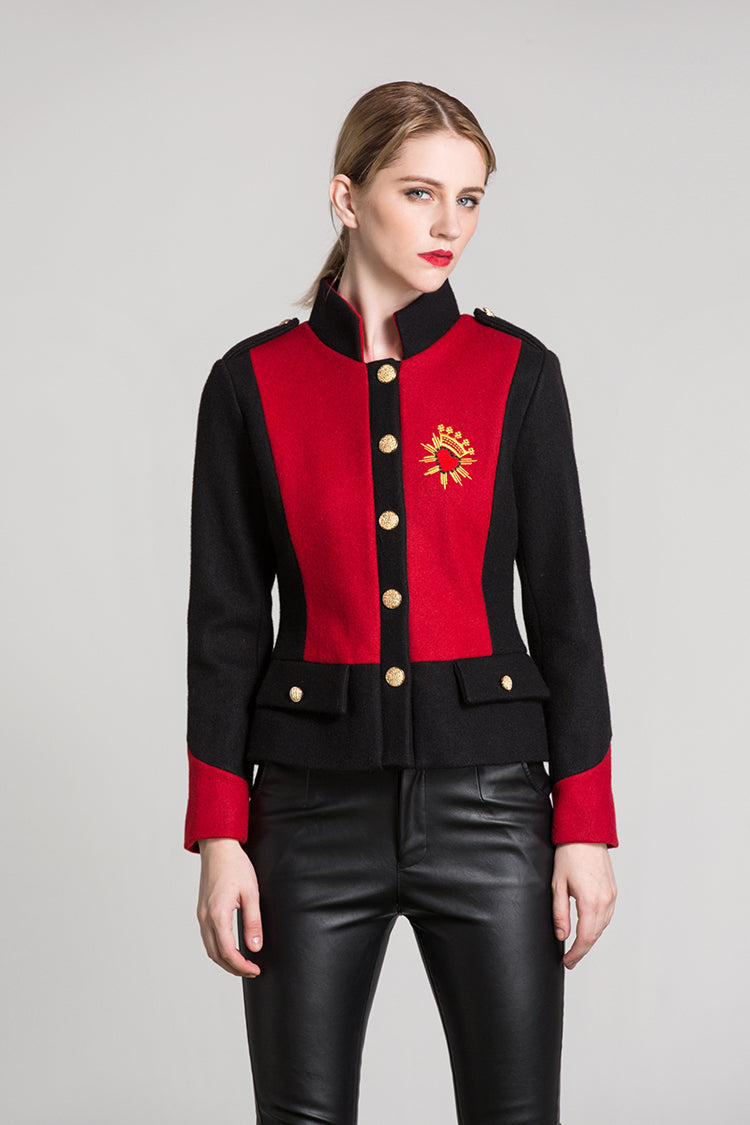 Luxury Heart Embroidery Jacket Autumn Long Sleeve