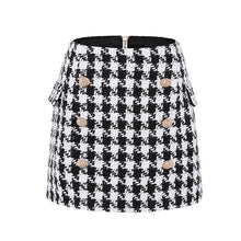 Load image into Gallery viewer, Runway Designer Skirt  Lion Buttons Double Breasted Tweed Wool Houndstooth Mini Skirt