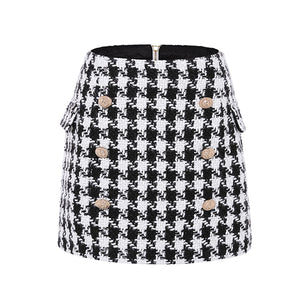 Runway Designer Skirt  Lion Buttons Double Breasted Tweed Wool Houndstooth Mini Skirt