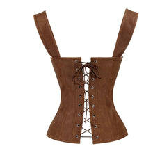 Load image into Gallery viewer, Leather Corset Sexy Brown Zipper