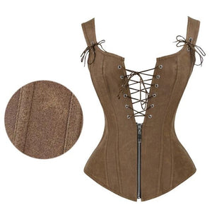 Leather Corset Sexy Brown Zipper