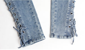New Fashion Lace Up Jeans