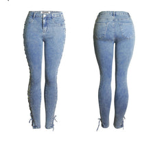 Load image into Gallery viewer, New Fashion Lace Up Jeans