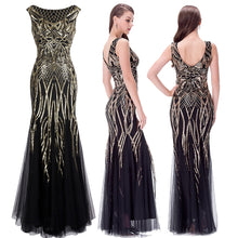 Load image into Gallery viewer, V Neck Evening Dress Golden Vintage Sequin Mermaid