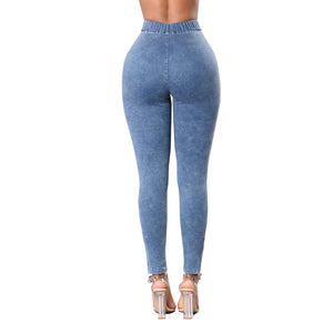 Skinny Jeans Leggings Rubber Waistband High