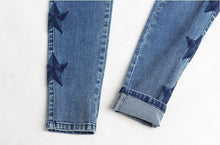 Load image into Gallery viewer, Vintage Star Embroidery Jeans Stretch Denim Pants