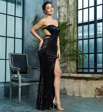 Load image into Gallery viewer, Black Bra Open Back Back Pleated Sequins Slim Dress Party