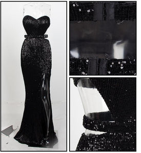 Black Bra Open Back Back Pleated Sequins Slim Dress Party