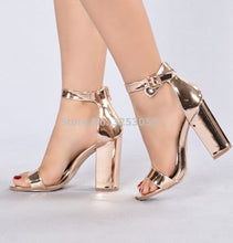 Load image into Gallery viewer, Chic Champagne Patent Leather Sandals
