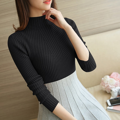 Sweater Autumn Winter Black Tops  Knitted