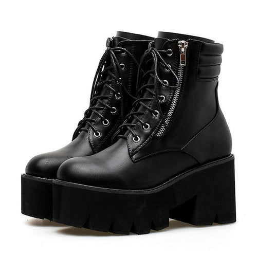 Motorcycle Boots Chunky Heels Casual