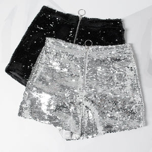Sequin Shorts High Waist O-Ring Zip Front Bodycon