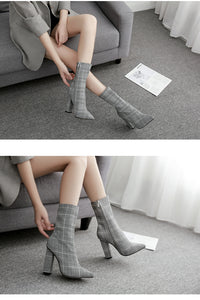 Print Sexy Ankle Boots