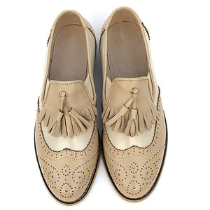 flats genuine Leather oxford flat Shoes brogues vintage retro  tassel pink