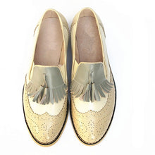 Load image into Gallery viewer, flats genuine Leather oxford flat Shoes brogues vintage retro  tassel pink