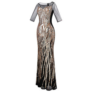 V Neck Evening Dress Golden Vintage Sequin Mermaid