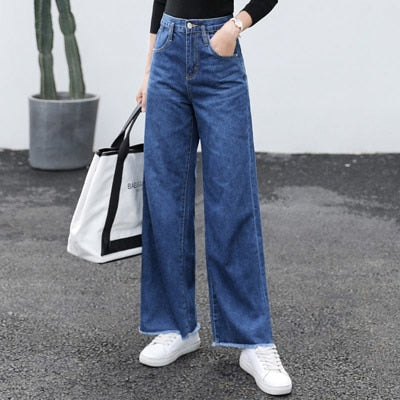 Wide Leg Loose Denim Blue Jeans