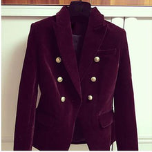Load image into Gallery viewer, Breasted Lion Buttons Velvet Blazer Coat