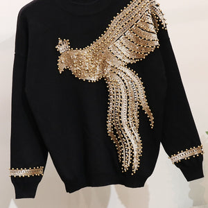 Winter Handmade Beading Sequined Pattern  Long Sleeve Knitted