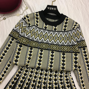Vintage Knit Sweater Skirts Sets Geometric Printed