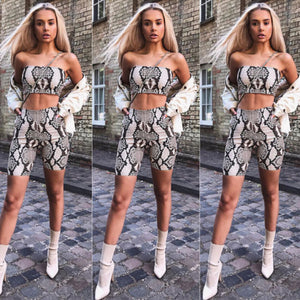 Casual Shinny Tube Top Shorts Bodycon