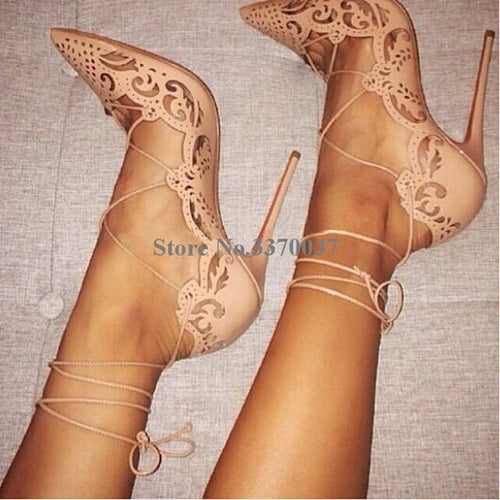 Pointed Toe Gold Carved Thin Heel Pumps