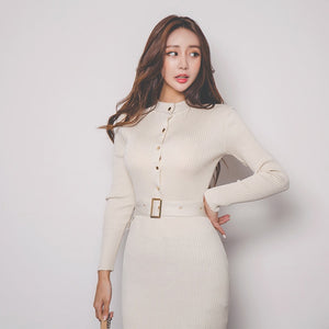 Elegant Single Breasted Sweater Dress