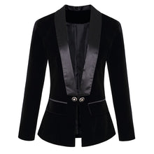 Load image into Gallery viewer, Designer Blazer  Long Sleeve Velvet Blazer Jacket Outer Wear