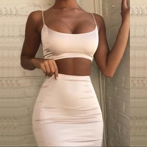 Two Piece Outfits Crop Top And Skirt Set Matching Sets 2piece