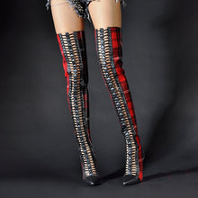 Load image into Gallery viewer, Winter Shoes Sequined Cloth Over the Knee High Heels