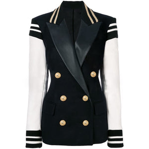 Designer Blazer  Leather Patchwork Double Breasted Blazer Jacket