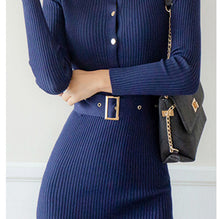 Load image into Gallery viewer, Elegant Single Breasted Sweater Dress