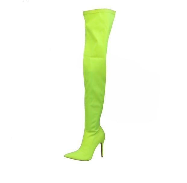 Candy Color Elastic long boots pointed toe thin leg autumn over-the-knee