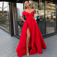 Load image into Gallery viewer, Long Evening Dress  Sexy High Slit V-neck Cap Sleeve Arabic Style Dubai